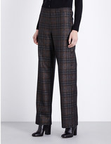 Maison Margiela Checked wide-leg high-rise wool-blend trousers