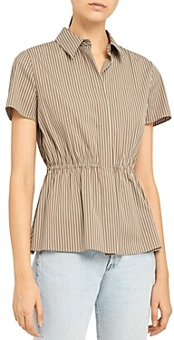 Theory Short-Sleeve Cinched Stretch Cotton Striped Shirt