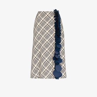 Prada Natte Sequin Checked Wool Skirt