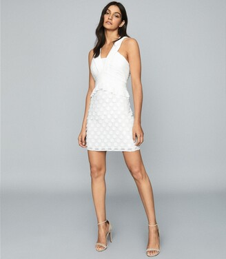 Reiss Georgia - Jacquard Spot Mini Dress in White