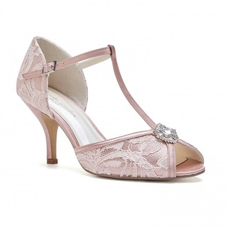 Paradox London Charlotte Blush Low Heel Satin & Lace T-Bar Sandals