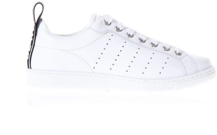 DSQUARED2 Be Cool Be Nice White Leather Sneakers