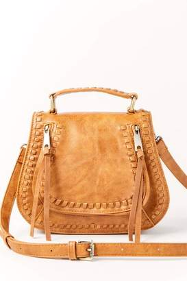 francesca's Liv Whipstitch Top Handle Crossbody - Tan