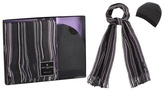 Jeff Banks Grey And Purple Striped Scarf And Hat In A Gift Box