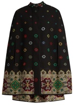 Alexander McQueen Cross-stitch jacquard wool mix cape