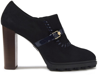 Tod's Whipstitched Patent Leather-trimmed Suede Ankle Boots
