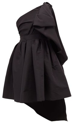 Carolina Herrera One-shoulder Gathered Silk-faille Mini Dress - Black