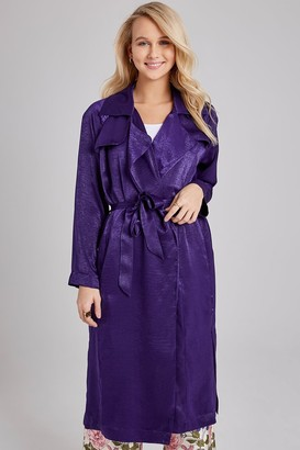 Girls On Film Sovereign Navy Satin Trench Coat