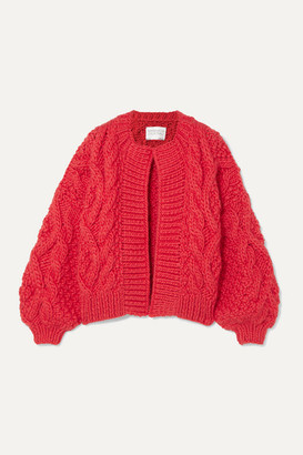 I Love Mr Mittens Aran Cable-knit Wool Cardigan - Red