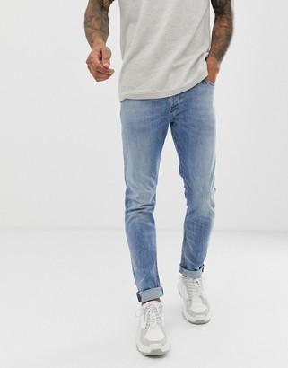 Diesel Tepphar slim carrot fit jeans in 081AL light wash