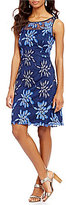 Adrianna Papell Sleeveless Fringe Embroidered Fit & Flare Dress