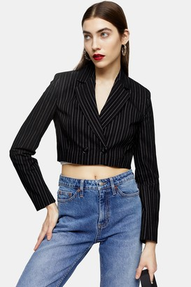 Topshop Womens Black Stripe Crop Jacket - Black