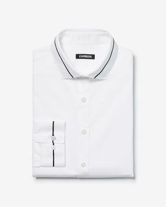 Express Extra Slim Ribbon Tape Collar Tuxedo Dress Shirt