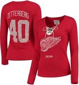 Reebok Women's Henrik Zetterberg Red Detroit Red Wings Henley Lace Up Name & Number Long Sleeve T-Shirt