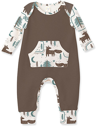 Tesa Babe Boys' Rompers Brown/Fox - Brown Fox Trail Pocket Playsuit - Newborn & Infant