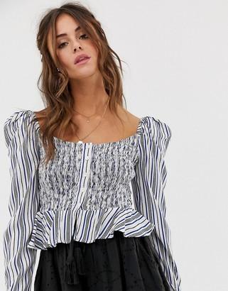 Cleobella Seville stripe bardot top