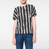 Paul Smith Women's White 'Painted Stripe' Print Cotton T-Shirt