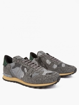 Valentino Grey Camouflage Felt Running Sneakers