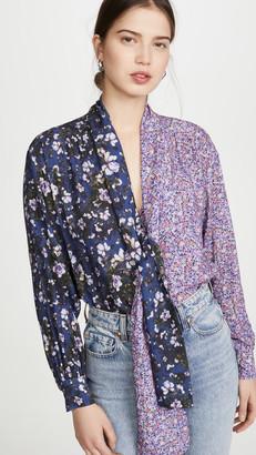 Unravel Project Viscose Flowers Draped Shirt