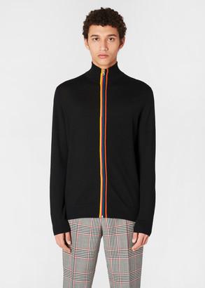 Paul Smith Men's Black Merino Wool 'Artist Stripe' Zip-Through Cardigan