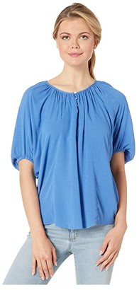 Karen Kane Button Up Peasant Top (Daisy) Women's Clothing