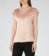 Reiss Ki Silk-Front T-Shirt
