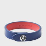 Paul Smith Men's Blue Leather PS Logo Bracelet