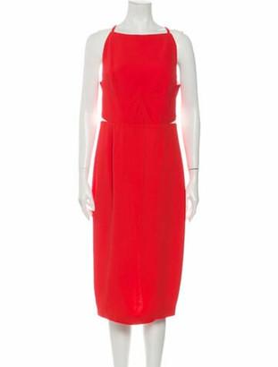 Roland Mouret Square Neckline Midi Length Dress Orange
