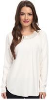MICHAEL Michael Kors Long Sleeve Hilo Hem Embellished Sweater