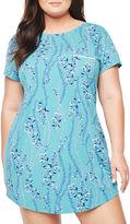 Liz Claiborne Jersey Short Sleeve Floral Nightshirt-Plus