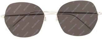 Balenciaga Eyewear Logo Print Geometric-Frame Sunglasses