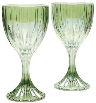 Luisa Beccaria Set Of Two Prestige Wine Glasses - Green