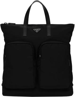 Prada Logo Nylon Backpack Tote Bag