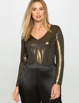 ELOQUII Plus Size Gold Lamé Bodysuit