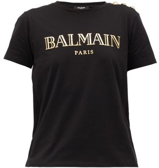 Balmain Buttoned-shoulder Logo-print Cotton T-shirt - Black Gold