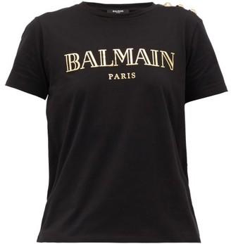 Balmain Buttoned-shoulder Logo-print Cotton T-shirt - Womens - Black Gold