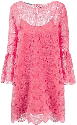 Alberta Ferretti Sheer Lace Mini Dress