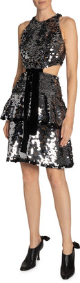 Proenza Schouler Sequined Velvet-Bowed Cutout Dress