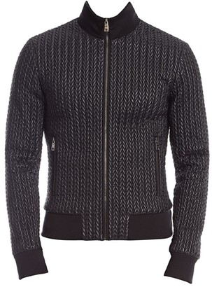 Dolce & Gabbana Chevron Zip-Up Funnelneck Jacket