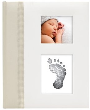 """Pearhead Classic Baby Book with """"Clean-Touch"""" Ink Pad Included, Ivory"""