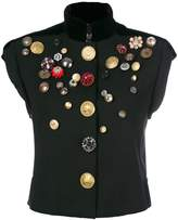 Dolce & Gabbana button embossed sleeveless jacket