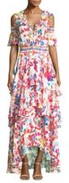 Tanya Taylor Isabelle Cold-Shoulder Silk Maxi Dress