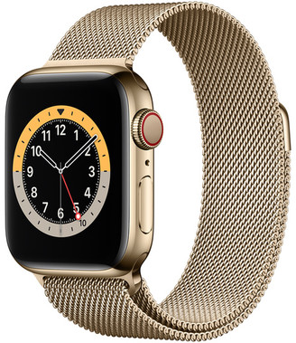 Apple Watch Series 6 GPS + Cellular, 40mm Gold Stainless Steel Case with Gold Milanese Loop