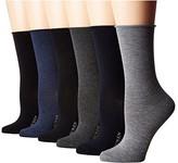 Lauren Ralph Lauren Rolltop Trousers 6-Pack (Grey Assorted) Women's Crew Cut Socks Shoes
