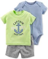Carter's 3-Pc. Graphic-Print Cotton, Bodysuit & Shorts, Baby Boys