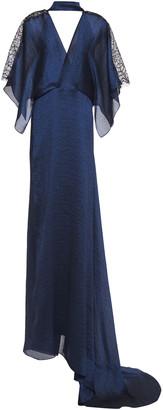 Roland Mouret Lace-trimmed Metallic Textured-jacquard Gown
