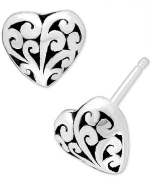 Lois Hill Filigree Heart Stud Earrings in Sterling Silver