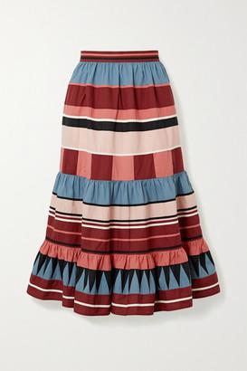 Ulla Johnson Simi Tiered Striped Cotton-poplin Midi Skirt - Claret