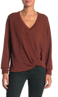 Lush Deep V-Neck Twist Hem Pullover Sweater