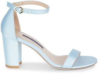 Stuart Weitzman Nearly Nude Suede Ankle-Strap Sandals